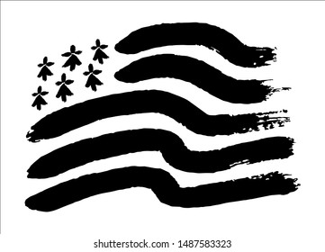 Hand drawn painted black and white breton flag Gwen-ha-Du in painted grunge style isolated on white background