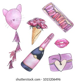 hand drawn painted watercolor collection of isolated sketch pink elements for celebration champagne bottle, macaroons, gift, bouquet of flower on white background