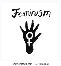Hand drawn palm with feminism symbol and lettering. Black Ink watercolor paint lettering isolated on white background