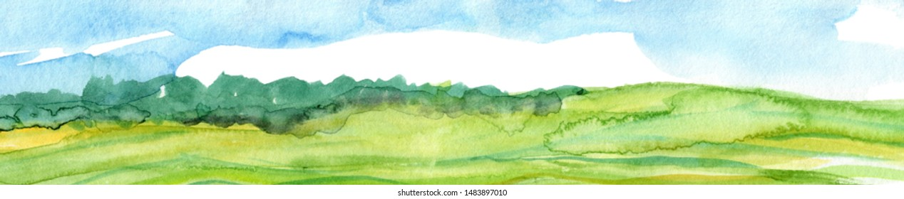 Hand drawn panoramic european landscape watercolor background. Calm sky, meadows and hills.