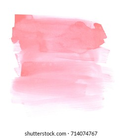Hand drawn pastel pink watercolor brush stroke texture. Artistic design element isolated on a white background
