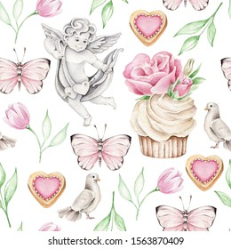 Hand drawn pattern with angel, tulips, cupcake, cookies, dove and butterfly.Can be used for wrapping paper, wallpaper.For wedding invitations, cards.Vintage concept