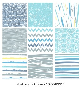 Hand drawn pattern collection. 9 Simple textures for backround, fabric, scrupbook, baby shower or other types of design.