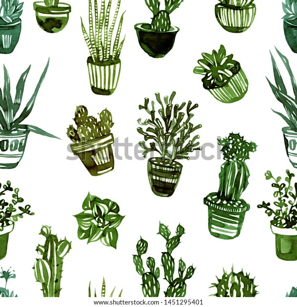 Hand Drawn Pattern Different Types Succulents Stock Illustration