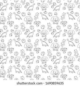 Hand drawn pattern Toys (dinosaur, bunny, cat, ball)