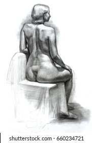 hand drawn pencil black and white illustration of woman figure