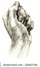Hand drawn pencil drawing of victory hand