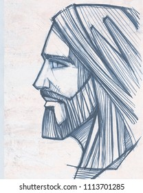 Hand drawn pencil illustration or drawing of Jesus Christ Face