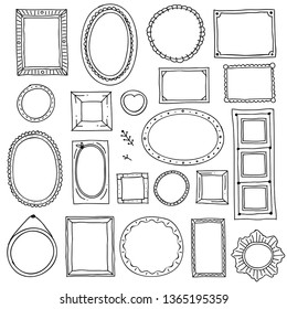 Hand drawn picture frame. Doodle square oval photo frames and scrapbook scribble borders sketch isolated set