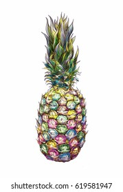 Hand drawn pineapple isolated on white background. Exotic tropical fruit. Abstract colorful sketch in modern Pop art style.
