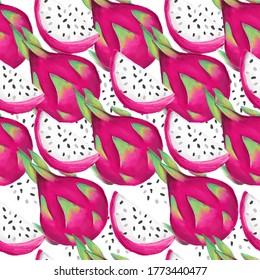 Hand Drawn Pitaya Fruit Illustration. Seamless pattern Dragon Fruit background. Trend print for summer textiles. Fashionable pattern.