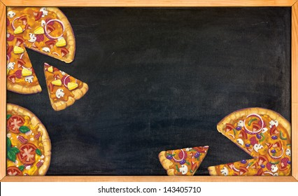 Hand drawn pizzas on a black chalk board where restaurant specials can be written