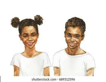 Hand drawn portrait of african girl and boy. Watercolor children or teenager illustration on white background. Painting beautiful sister, brother and friends
