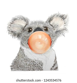 Hand drawn portrait of Koala with bubblegum. Isolated on white. Cute watercolor illustration