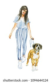 Hand drawn portrait of lady with boxer dog. Watercolor street fashion illustration. Painting young woman walking with dog