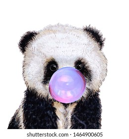 Hand drawn portrait of Panda bear with bubblegum. Isolated on white. Cute watercolor illustration