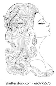 Hand drawn portrait in profile of elegant lady in retro style. Girl with wavy hair with a hairpin in the form of leaves. Art Deco style. Decorated Coloring Page A4 size.