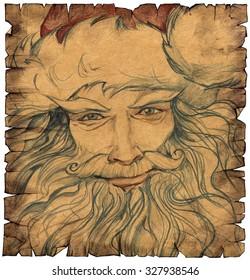 Hand drawn portrait of Santa Claus