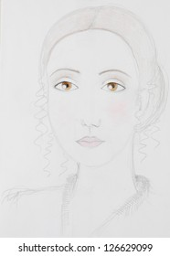 hand drawn portrait of a young, attractive woman with brown eyes and her hair in a loop