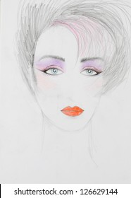 hand drawn portrait of a young, attractive woman with blue eyes and eighty's makeup and hair style