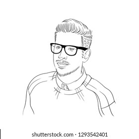 A hand drawn portraiture of the average male person, young manager, office worker with glasses.
