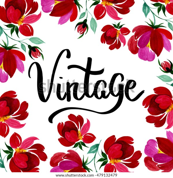 Hand drawn poster in vintage style with red flower on it. Could be used for: romantic decoration, background for cards, wedding or greeting.