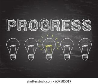 Hand drawn progress sign and lightbulb on blackboard