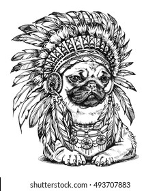 Hand Drawn Pug Wearing Feathered American Indian Chief Headdress. Illustration in Boho Style.
