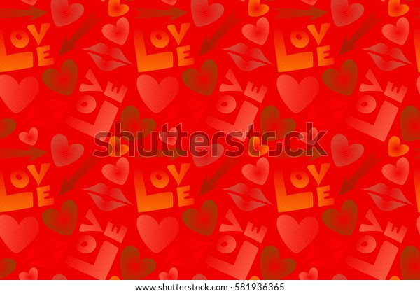 Hand drawn raster seamless pattern in brown, orange and red colors. Valentine's day theme. Imprint female a kiss, hearts, arrows multicolored.