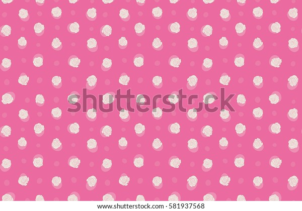 Hand drawn raster seamless pattern - pink and beige roses with petals. Floral background with stylized roses.