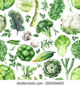 Hand drawn raw food illustration. Seamless pattern made with watercolor green vegetables. Set of organic products. Variety cabbages, greens, cucumber, mushroom, asparagus, onion on white background.