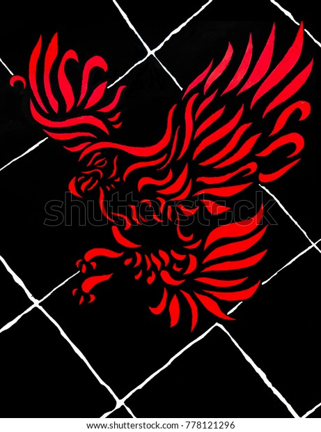 Hand Drawn Red Graphic Eagle On Stock Illustration 778121296