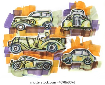 hand drawn retro cars by color markers