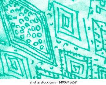 Hand Drawn Rhombus. Green Abstract Geometry. Ikat Wallpaper. Watercolor Rhombus. Watercolor Rhombus. Turquoise Contemporary Geo. Green Ikat Wallpaper. Painted Line Patterns.