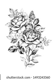 Hand drawn rose flowers bunch with sitting butterfly isolated on white background. Pencil drawing monochrome elegant floral composition in vintage style, t-shirt, tattoo design.