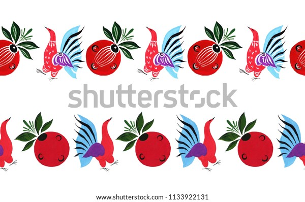 Hand drawn Russian fairytale borders isolated on white background