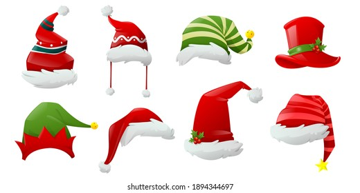 Hand drawn santa claus hat collection. Hats of different Christmas characters. Big set of realistic Santa hats isolated on white background. Cartoon new year face masks