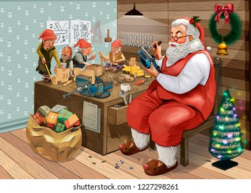 Hand drawn Santa Claus making Christmas presents with his elves