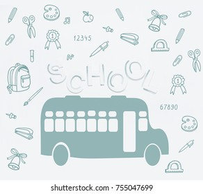 Cute School Cartoon Colection Back To School Illustration Pencil