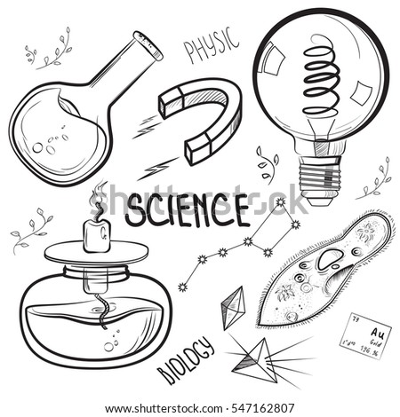 Hand Drawn Science Set Sketch Elements Stock Illustration 547162807