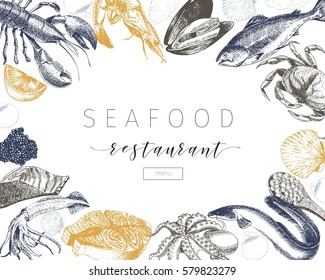 hand drawn seafood banner.Lobster, salmon, crab, shrimp, octopus, squid, clams.Engraved art in square border composition.Delicious menu objects. Use for restaurant, promotion market store flyer