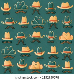 Hand Drawn Seamless Cowboy or Cowgirl Hats and Mustaches Wild West Halftone Outlaw Pattern on Teal Background. Perfect for history, children, baby, apparel, accessories, stationery, scrapbook, fabric.