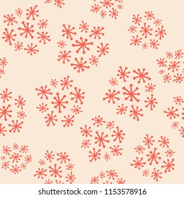 Hand Drawn Seamless Funky Vintage Starburst Cluster Floral Pattern in salmon and almond cream.Great for fabric, home decor, apparel, accessories scrapbooking and backgrounds