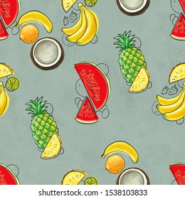 Hand drawn seamless pattern with bananas, coconuts, pineapples and watermelon. Summer background with exotic fruits. Top view. Wallpaper or textile tropic print