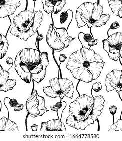 Hand drawn seamless pattern with black and white poppy flower head