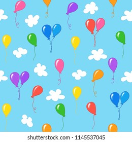 Hand drawn seamless pattern with colored balloons on background of blue sky with clouds.
