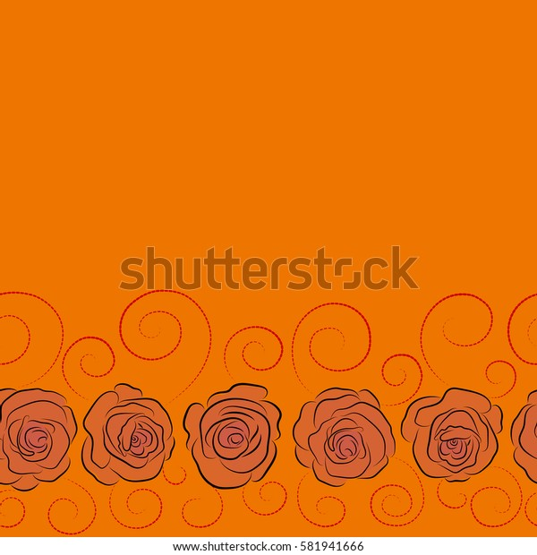 Hand drawn seamless pattern with copy space (place for your text) in red and orange colors. Vintage horizontal watercolor roses.