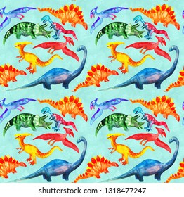 Hand drawn seamless pattern with cute watercolor dinosaurs on blue background. For kids fabric, textile, wallpaper. Cute repeatable dino illustration