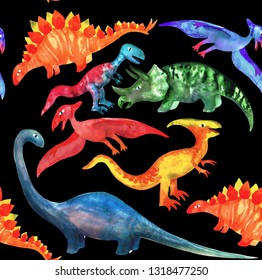 Hand drawn seamless pattern with cute watercolor dinosaurs on black background. Perfect for kids fabric, textile, wallpaper. Cute dino design.