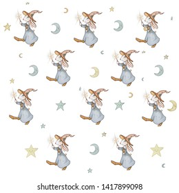 Hand drawn seamless pattern with cute bunny wizard , moon and stars. Use these graphics to create your own GORGEOUS items for sale or gifts!